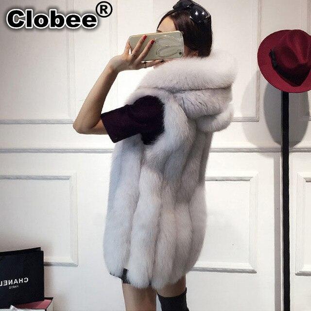 97607864c0dd4 2018 Plus Size 6XL Fur Hood Vest Women Faux Fox Fur Vest Striped Long Fur  Gilet Sleeveless Rabbit Fur Coat Winter Jacket V888