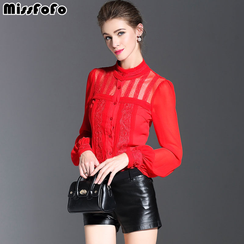 MissFoFo High Quality Blouse 2019 Spring New Brand Office Lady Tops Novelty Hollow Out Silk Shirt