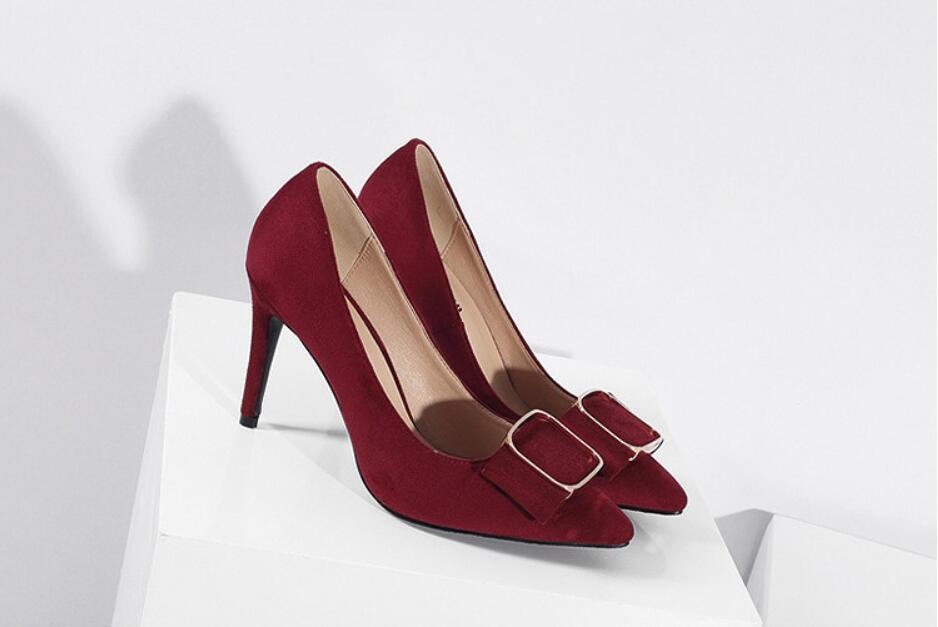 gris Calidad vino Zapatos Primavera Negro rojo Tinto Alto Sexy Womenundefineds Alta Baja De Tacón Solo Negro Kncokar Puntiagudo Moda rosado qwEZxf