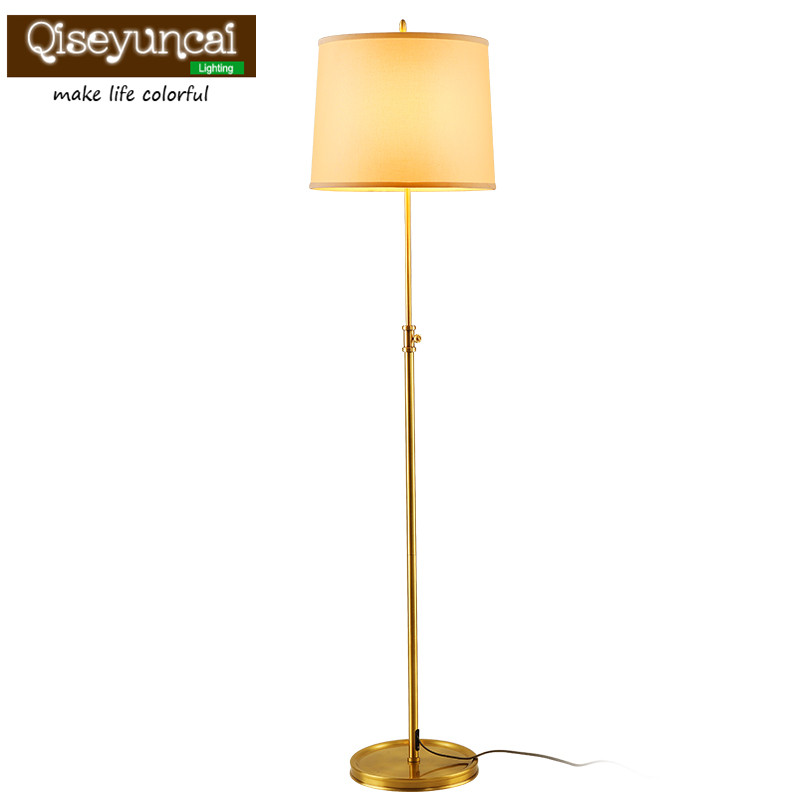 Qiseyuncai 2018 new American Village Copper Floor lamp Simple Garden Living room Study Bedroom Bedside lamps
