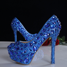 2016 spring blue crystal bridal wedding shoes up heel platform shoes genuine leather comfortable insole women pumps plus size