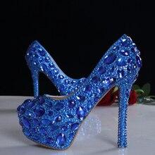 2016 весна синий кристалл люкс свадебные обувь пятки платформы обувь из натуральной кожи удобные стельки женщины насосы плюс размер