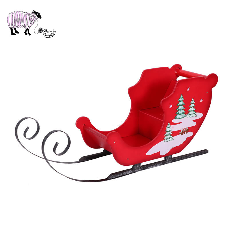 Newborn Baby Christmas Theme Photography Props Solid Wood Sled Car And Deer Set Photo Shooting Props