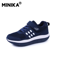 Minika Women Mesh Casual Shoes Slimming Breathable Platform Swing Wedge Shoes Health Tenis Feminino Zapatillas Deportivas