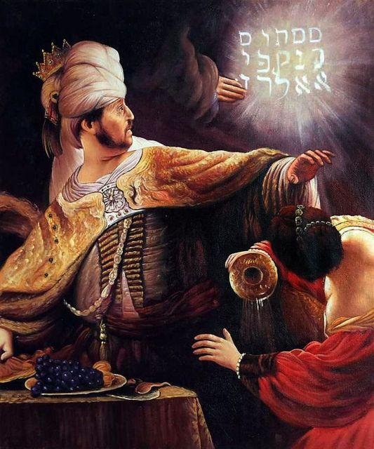 Writing at belshazzars feast painting