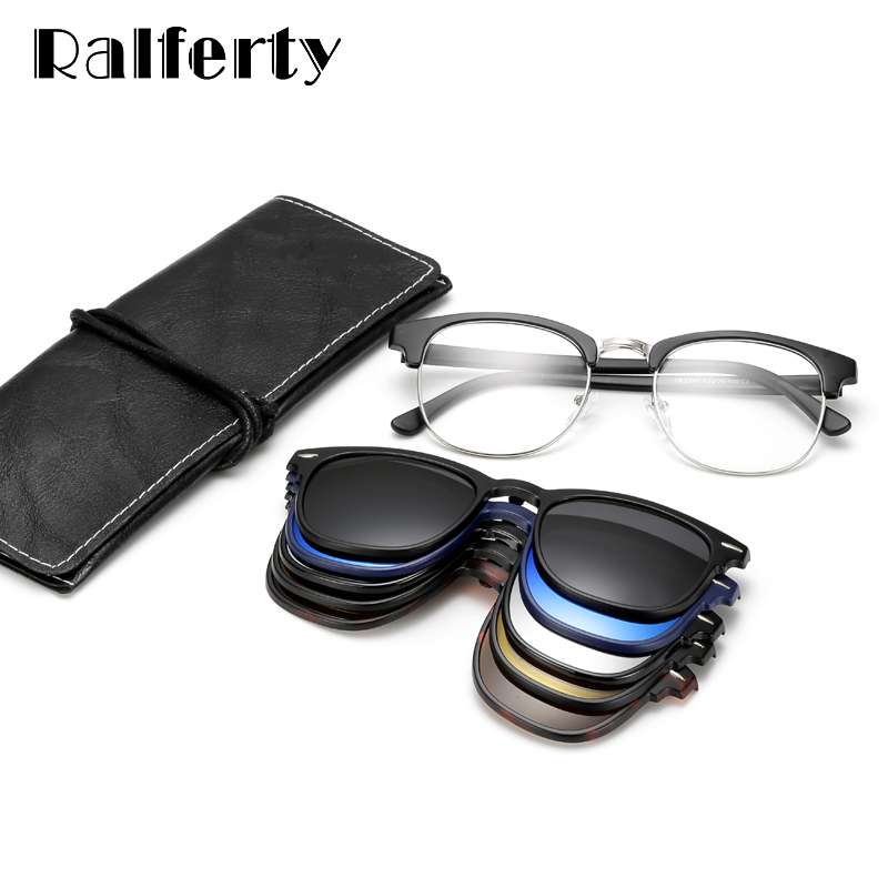 Image 5 - Ralferty Ultra light TR90 Magnetic Clip On Sunglasses Men Women Polarized UV400 Sunglases Prescription Eyewear Frame With Case-in Men's Sunglasses from Apparel Accessories