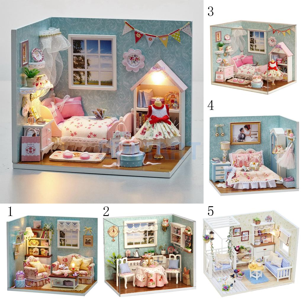 DIY Handicraft Miniature Dollhouse Project Doll Room Furniture Toy Set with Dust Cover Kids Birthday Gift Desktop Ornament