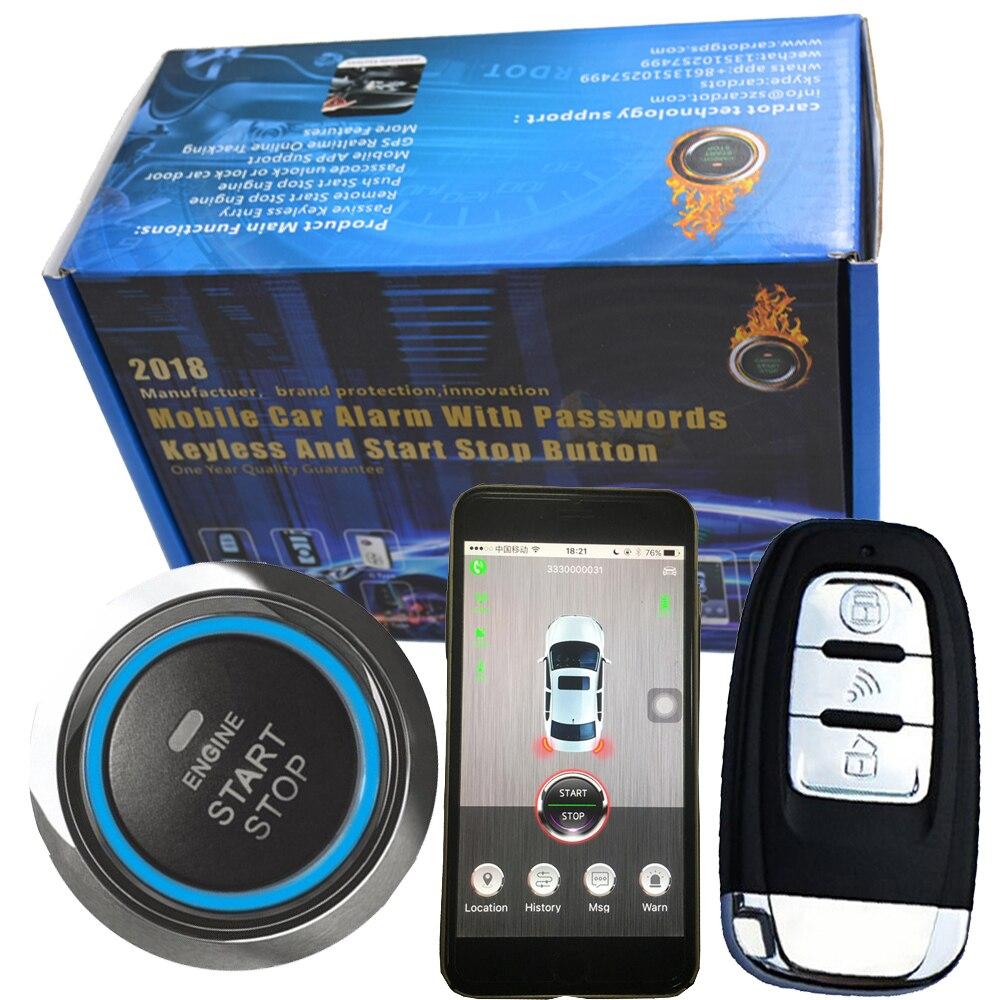 Smartphone gsm e gps per auto sistema di allarme compatibile con ios e android phone auto sistema di arresto di inizio del motore a distanza Intelligente chiave dell'automobile di PKE