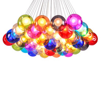 Wongshi Colorful Glass Ball Pendant Lights G4 DIY Soap Bubble Pendant Lamp For For Home Deco