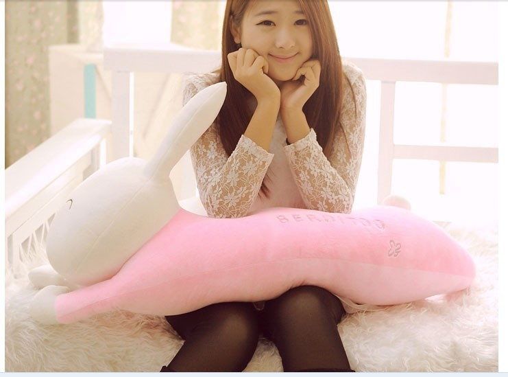 big lovey plush pink rabbit toy stuffed smile rabbit pillow birthday gift about 110cm 2015 new fashion 90cm plush toy stuffed toy super quality goofy dog pillow toy lovey cute doll gift for children