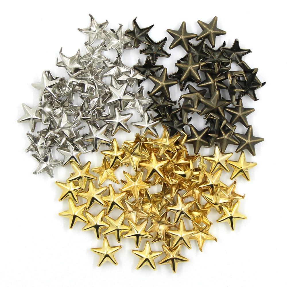 Pack von 100 Metall Stern Form Nieten Nieten Punk Spikes Spots für Leder