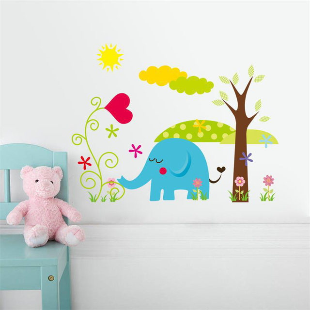Cute Elephant Wall Sticker Cartoon Wall Stickers Home Decor Removable Vinyl  Nursery Kids Room Decals Animal Part 51