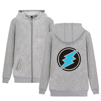 Electroneum Logo Print Cotton Zipper Hoodies With Hat Men Winter Dress