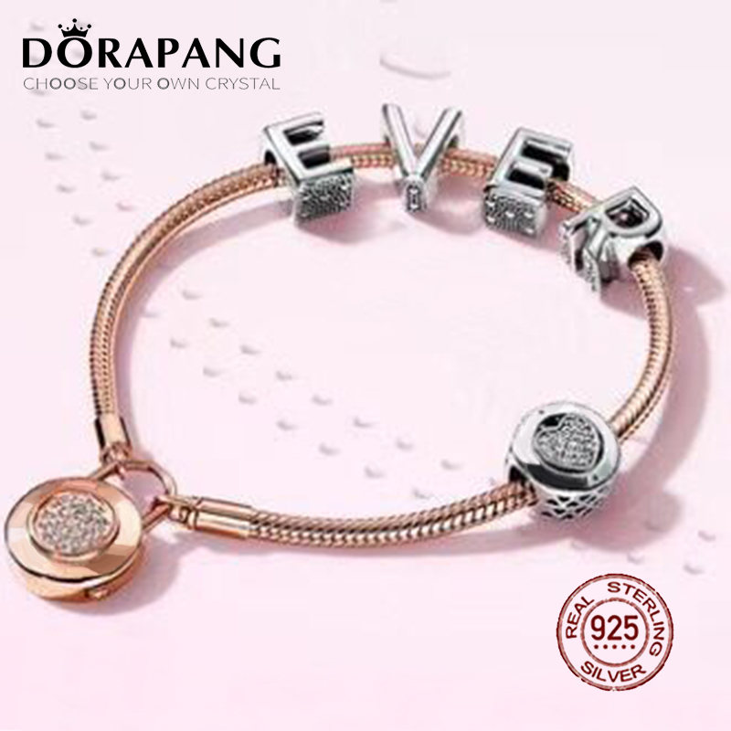 DORAPANG 2018 New Hot Sale 925 sterling silver Bracelet EVER Love Gift Set For Women Rose Bracelet Charm DIY Letter Jewelry new pure au750 rose gold love ring lucky cute letter ring 1 13 1 23g hot sale