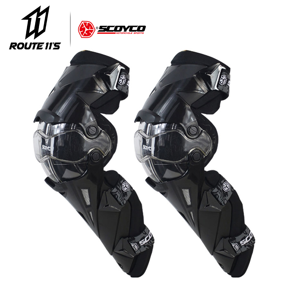 SCOYCO Motorcycle Knee Pad CE Motocross Knee Guards Motorcycle Protection Knee Motor-Racing Guards Safety Gears Race Brace Black