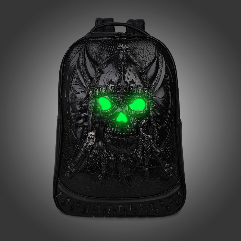 2017 fashion Brand 3D Skull head design PU leather backpacks vintage Rock men bags Rivet computer bags good quality Travel Bags rock men gift special design skull