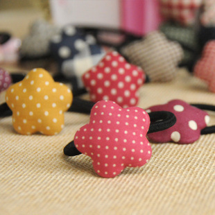And Great Variety Of Designs And Colors Full Range Of Specifications And Sizes Purposeful 6333 Elastic Hair Bands Gum With Pentagram And Heart Made By Fabric,candy Color Women Hair Accessories For Ponytail 1pc Famous For High Quality Raw Materials