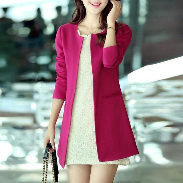 Women Blazer 2016 Fashion Straight Slim Single Breasted Long Casual Suit Jacket Blaser Feminino Plus Size