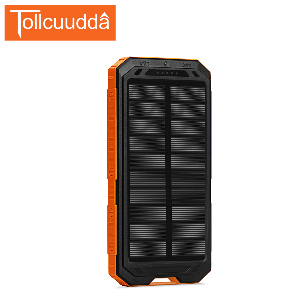 Tollcuudda supply Battery Power Pover Bank for Iphone 6 Solar Portable 2 Usb Charger Mobile Powerbank