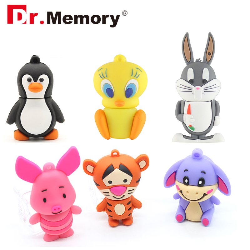 Cute Cartoon USB Flash Drives 32GB Animal Pig Bunny Pendrive 64GB Real Capacity 4GB 8GB 16GB Memory Stick I Flash Disk Pen Drive