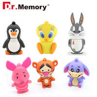 De dibujos animados lindo unidades Flash USB 32GB cerdo conejo Pendrive 64GB capacidad Real 4 GB, 8 GB, 16GB GB de memoria palo disco Flash Pen Drive