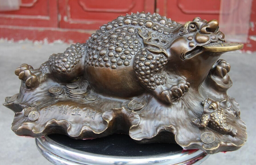 002821 8 Chinese Fine Copper Bronze Fengshui Wealth Coin Money Three-legged Toad Statue