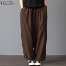 ZANZEA 2019 Women Wide Leg Pants Casual Loose Solid Work Trousers Elastic Waist Pockets Long Pantalon Femme Streetwear Plus Size