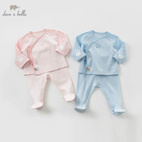 DBH9982 dave bella 0 9M new born wear infant toddler clothing sets baby 100% cotton pajamas children boutique sets