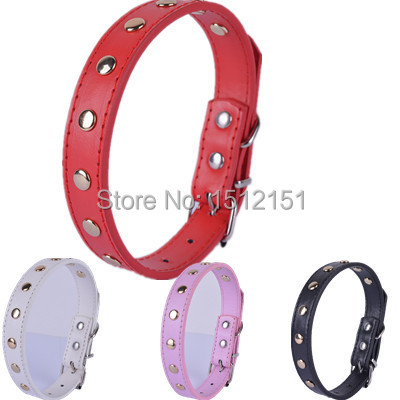 Personalized Gold Studded Collar For Dogs  Pu Leather Dog Collar 4 colors Pet Products