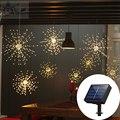 120 светодиодных солнечных сказочных струнных огней Starburst мерцающий свет букет форма 8 режимов затемнения с дистанционным управлением наруж...