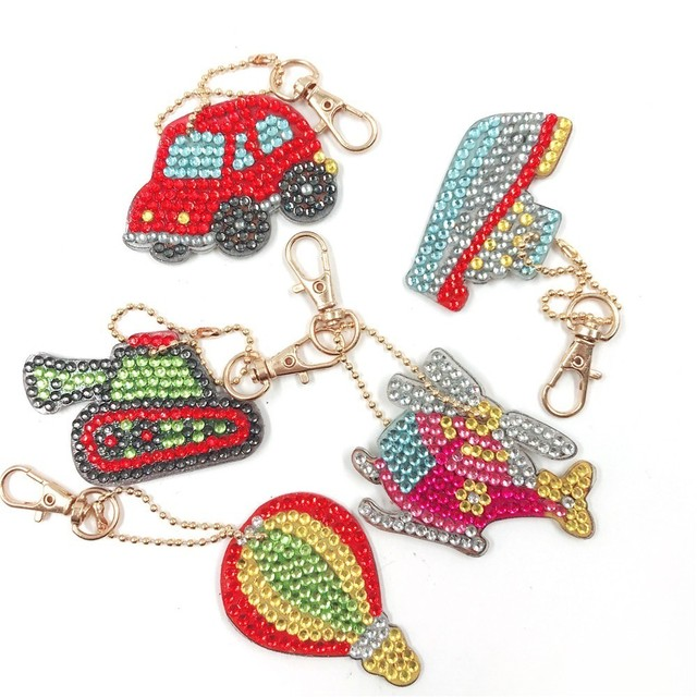 HUACAN DIY Diamond Painting Keychain Bag Decorations Jewelry Keyring Diamond Embroidery Sale Key Buckle Cartoon Handmake
