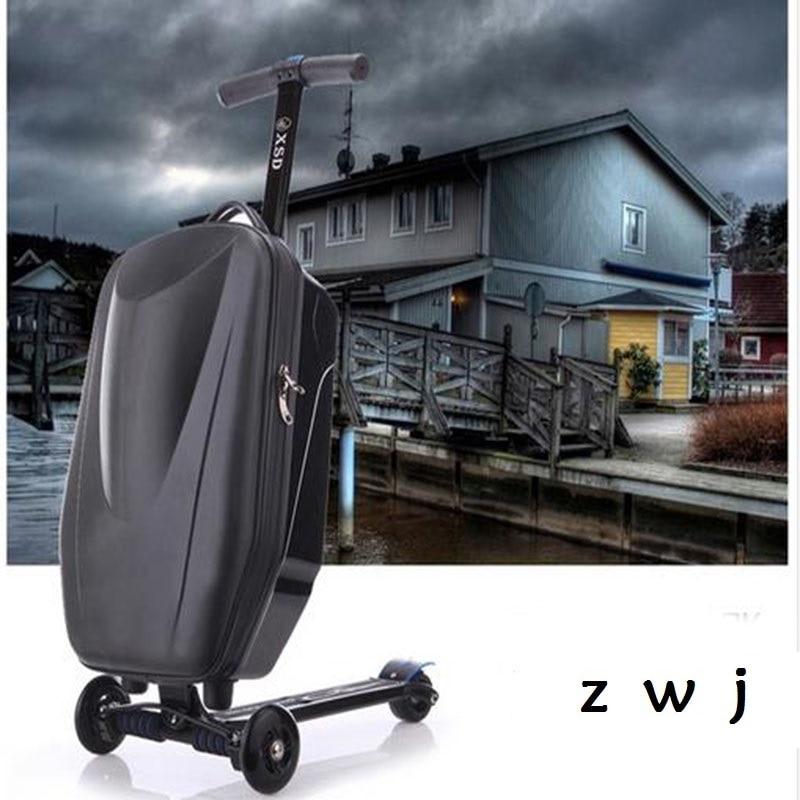 Bagaj ve Çantalar'ten Tekerlekli Bagaj'de PC 21 inç öğrenciler scooter bagaj bavul çocuk serin tekerlekli çanta 3D ekstrüzyon iş Seyahat kaykay bagaj çocuk'da  Grup 1