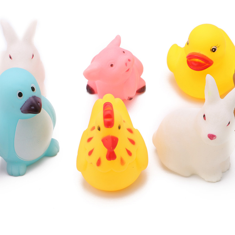 Funny Baby Shower Toys Rubber Animals With Sound Toys Various animal ...
