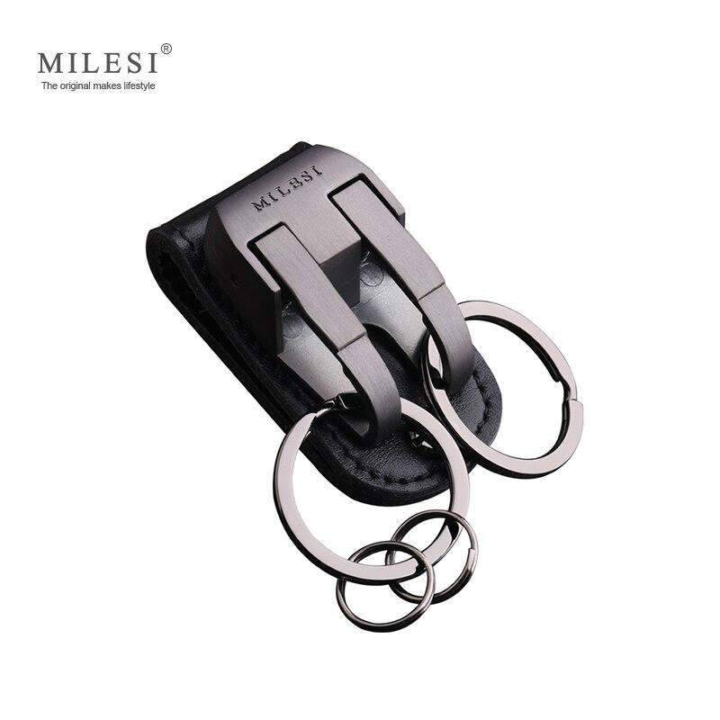 Milesi Männer Taille Hing Metall Auto Schlüssel Kette Leder Gürtel Slider Schlüssel Halter Schmuckstück Charme schlüsselring Für Männlichen Schlüssel kette