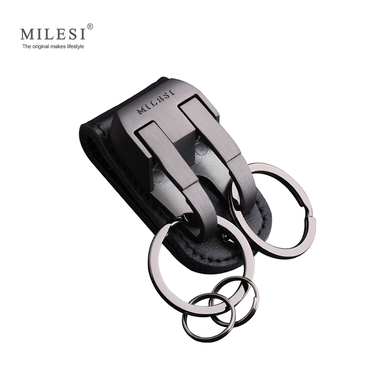 Milesi男性ウエストハング金属車のキーチェーンレザーベルトスライダーキーホルダー装身具チャームキーリングキーホルダー用男性キーチェーン