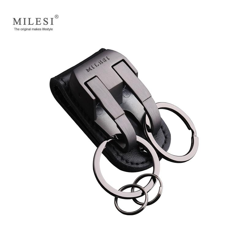 Milesi Men Waist Hung Metal Auto Schlüsselanhänger Ledergürtel Slider Keys Holder Schmuck Charm Schlüsselanhänger Schlüsselanhänger für männliche Schlüsselanhänger