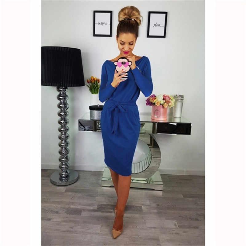 8239870c041 Женское офисное платье 2019 Новое Осеннее модное с длинным рукавом с  круглым вырезом тонкое платье миди