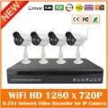 4ch Full Hd 1080 p H.264 Nvr + 4 pcs Ao Ar Livre À Prova D' Água Wifi Sem Fio 1280*720 p Câmera Ip De Vigilância De Segurança Kits Com 1 tb Hdd