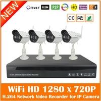 4CH Full HD 1080P H 264 NVR 4Pcs Outdoor Waterproof WiFi Wireless 1280 720P Security Surveillance