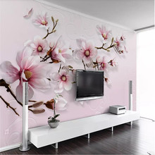 Professional production wallpaper mural modern minimalist hand-painted 3D lily pink background wall cloth thickening