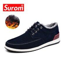 d7e50dbca SUROM الرجال الجلود عارضة أحذية العلامة التجارية الخريف الشتاء جديد أزياء  رياضية الرجال المتسكعون الكبار الأخفاف الذكور الجلد ال.