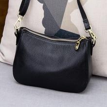 Bolso bandolera pequeño de cuero genuino para mujer, bolso de hombro a la moda, bolsos de mensajero para mujer, bolso de mano de media luna de lujo