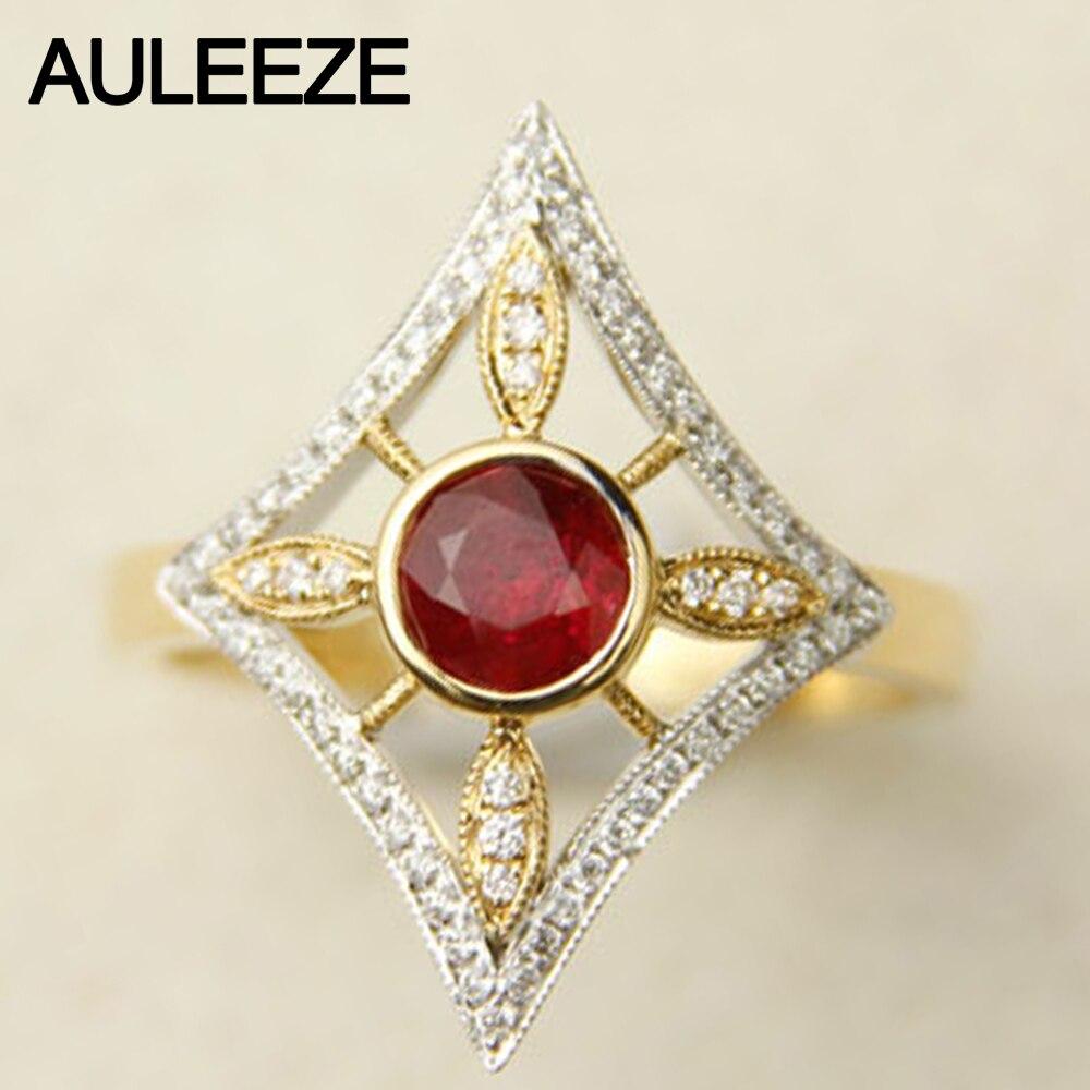 Натуральный 0.8ct драгоценный камень гранат Винтаж кольцо 14 К двухцветное золото Обручение обручальное кольцо certifcate элегантный день Святого