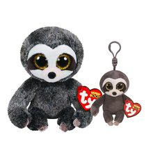 "Ty Beanie Boos 6""15cm&4"" 9cm Dangler the Sloth Clip Keychain Plush Big-eyed Stuffed Animal Collectible Doll Toy with Heart Tag(China)"