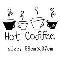 Eco xícara de café decalque removível da parede do vinil etiqueta engraçada para casa e loja de decoração da sala de jantar café bar vitrine mural
