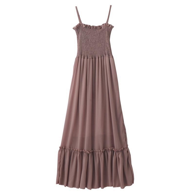 2019 summer new retro gentle long section high waist summer dress sleeveless sling chiffon solid color fairy women dress 5