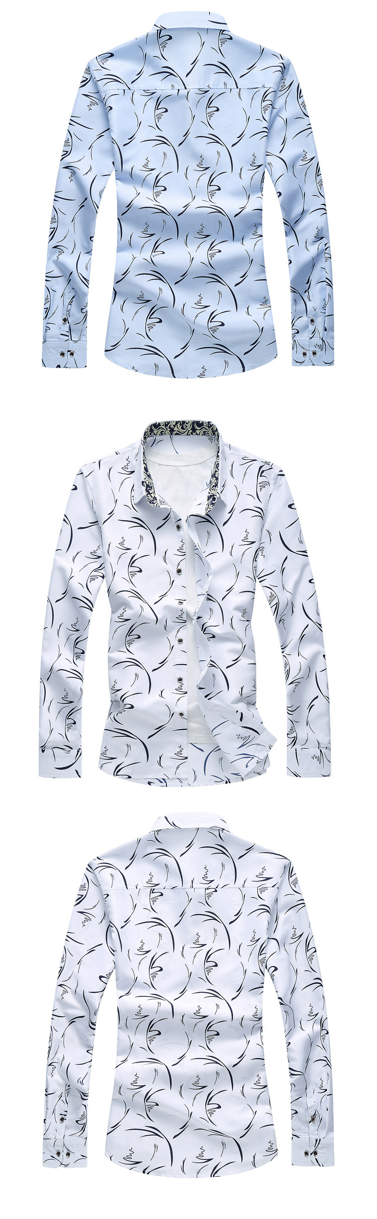 Large Size Printed Long Sleeve Casual Shirt for Men