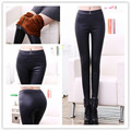 Winter Thick Faux Leather Warm Velvet Leggings For Women  Black Jeggings Stripe Fitness Slim Ladies  MF785412