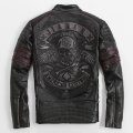2017 Men Black Skull Embroidery Leather Motorcycle Jacket  Stand Collar Real Cowhide Slim Fit XXXL Russian Coat FREE SHIPPING