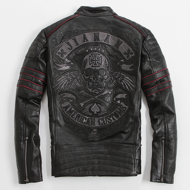 AMERICAN CUSTOMS SKULL EMBROIDERY COWSKIN GENUINE LEATHER JACKET